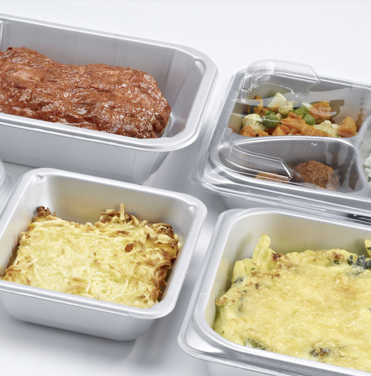 Silver airpet ready meal trays